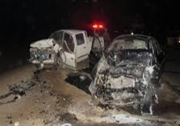 مصرع سائق وإصابة 4 في تصادم سيارتين بالمنيا