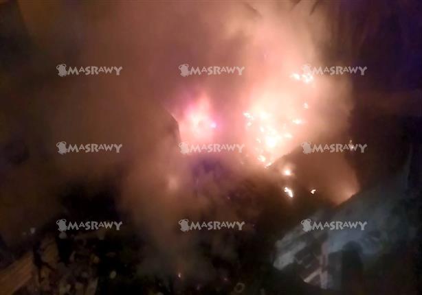 حريق هائل بمبنى سكني أسفل كوبري أكتوبر