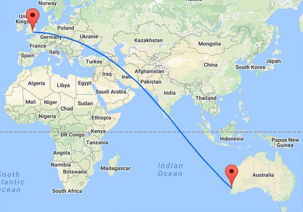 مسار رحلة الطيران من لندن إلى بيرث