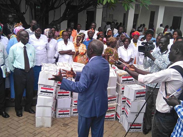 توزيع الشريحة الأولى من المساعدات الإنسانية المصرية في جنوب السودان