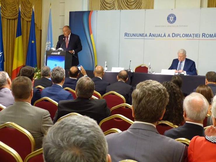 شكري يبدأ كلمته أمام المُلتقى السنوي لسفراء رومانيا بالخارج