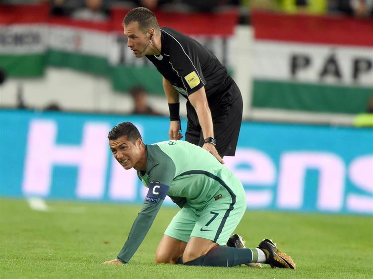 """بالفيديو- """"كوبري"""" رونالدو للاعب المجر يتسبب في منحه بطاقة صفراء"""