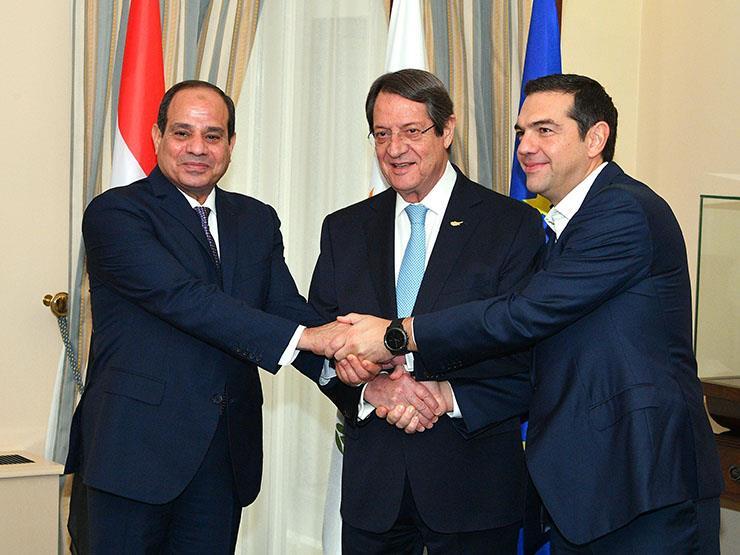السيسي ونظيره القبرصي ورئيس وزراء اليونان يتفقون على إنشاء منتدى للغاز