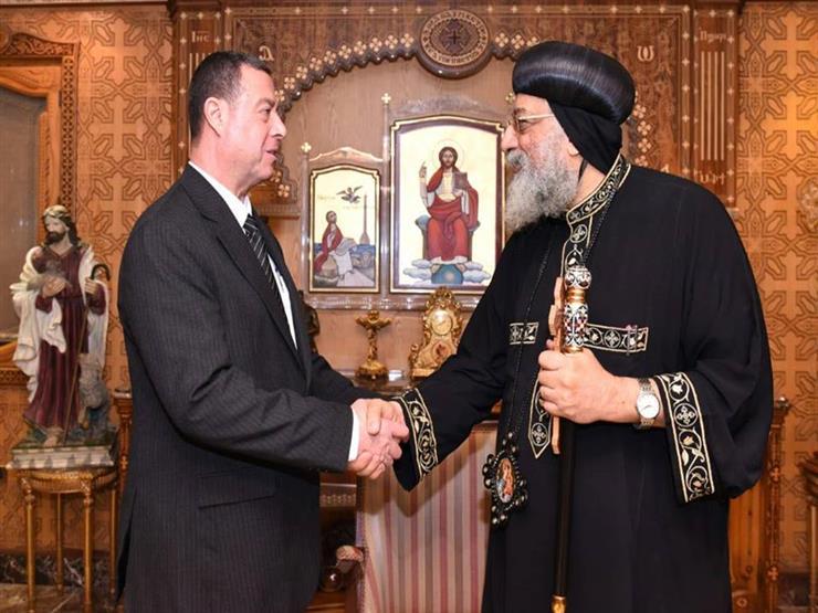 الباب تواضروس يستقبل السفير الفلسطيني بالقاهرة