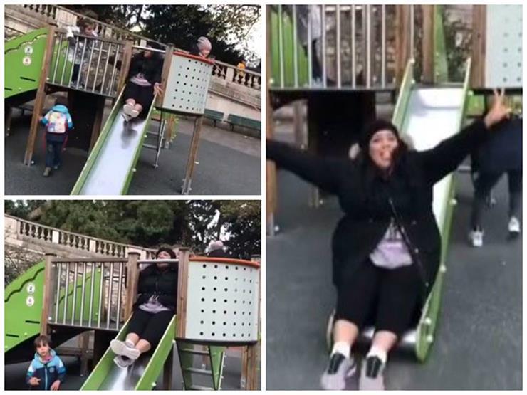"""بالفيديو..زيادة وزن شيماء سيف يضعها في موقف كوميدي أثناء """"التزحلق"""""""