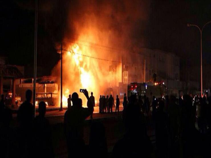 """استمرار حريق حقل بترول """"أم عسل"""" برأس سدر.. والاستعانة بسيارات إطفاء من السويس"""