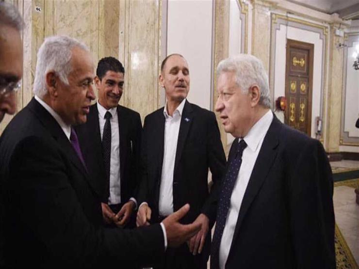 صورة.. مرتضى منصور يجتمع بفرج عامر قبل نهائي الكأس