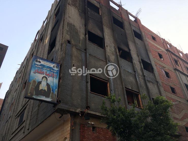 بعد الحريق.. أسقف شبرا الخيمة يتفقد كنيسة أبو مقار