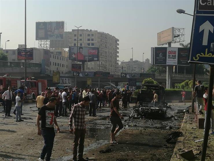 نتيجة بحث الصور عن انفجار سيارة ملاكي بمطلع كوبري أكتوبر بالمهندسين.. وتفحم ميكروباص