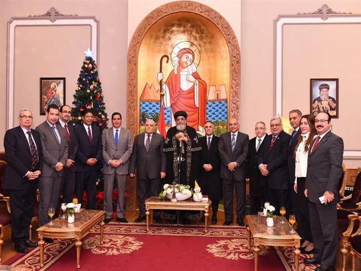 البابا تواضروس يستقبل أعضاء هيئة الانتخابات للتهنئة بعيد الميلاد