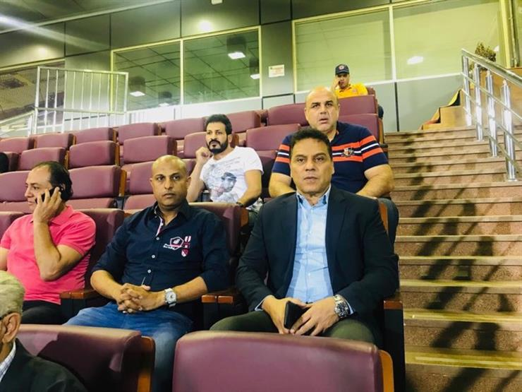 البدري يحضر مباراة الزمالك والمقاولون العرب