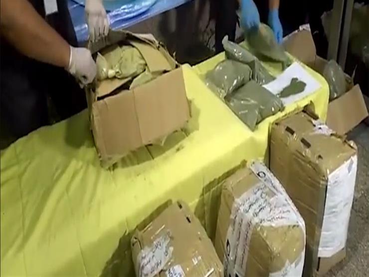"""بالفيديو.. لحظة ضبط شحنة من مخدر """"القات"""" داخل طرود بريدية بميناء القاهرة"""