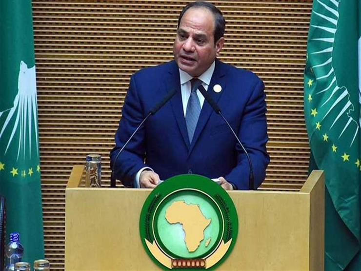 """السيسي: """"شرفت بتسلم راية أفريقيا.. وخالص أمتناني لأخي رئيس وزراء إثيوبيا"""""""