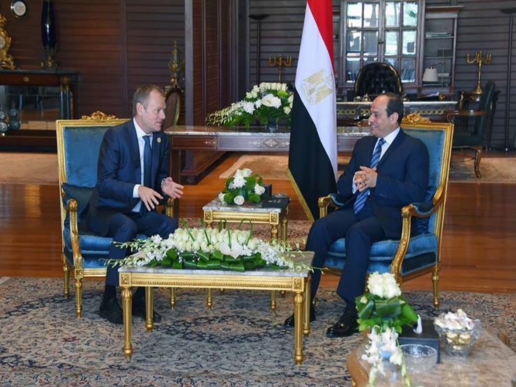 رئيس المجلس الأوروبي للسيسي: مصر همزة الوصل بين العرب وأوروبا
