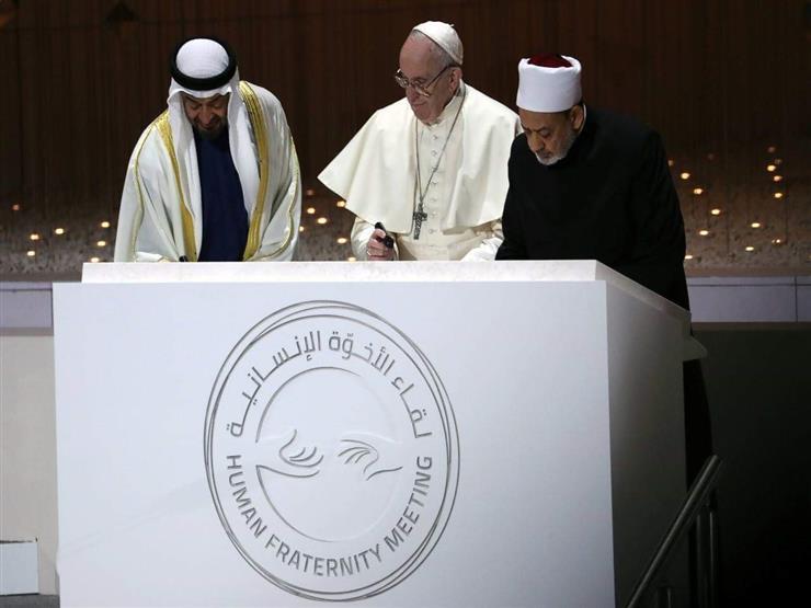ولي عهد أبو ظبي يُوقع حجر أساس بناء جامع شيخ الأزهر وكنيسة بابا الفاتيك