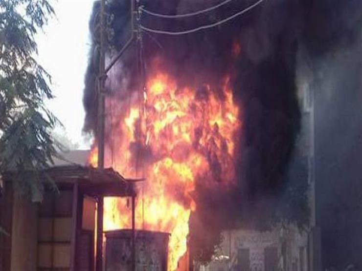حريق كشك كهرباء في المنصورة