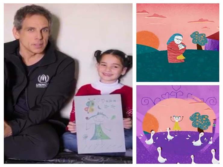 """فيديو.. """"بن ستيلر"""" مع طفلة لاجئة سورية ويعدها بتحقيق أحلامها"""