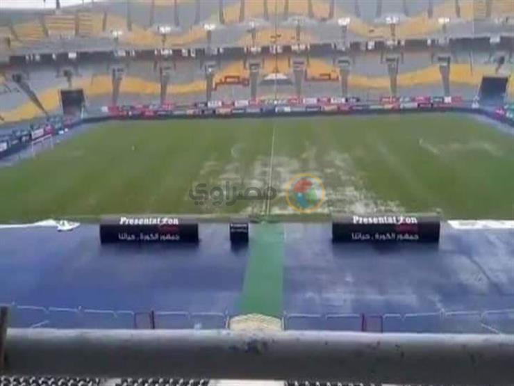 بالفيديو الصور برك مياه بسبب الأمطار شاهد ملعب برج ا مصراوى