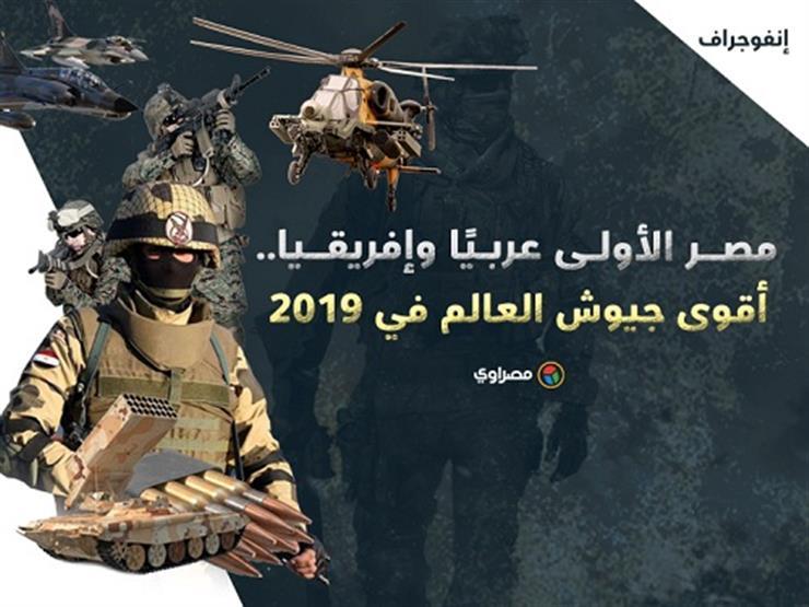 """""""الأولى عربياً"""".. ننشر ترتيب مصر في تصنيف أقوى جيوش العالم لعام 2019 (إنفوجرافيك)"""