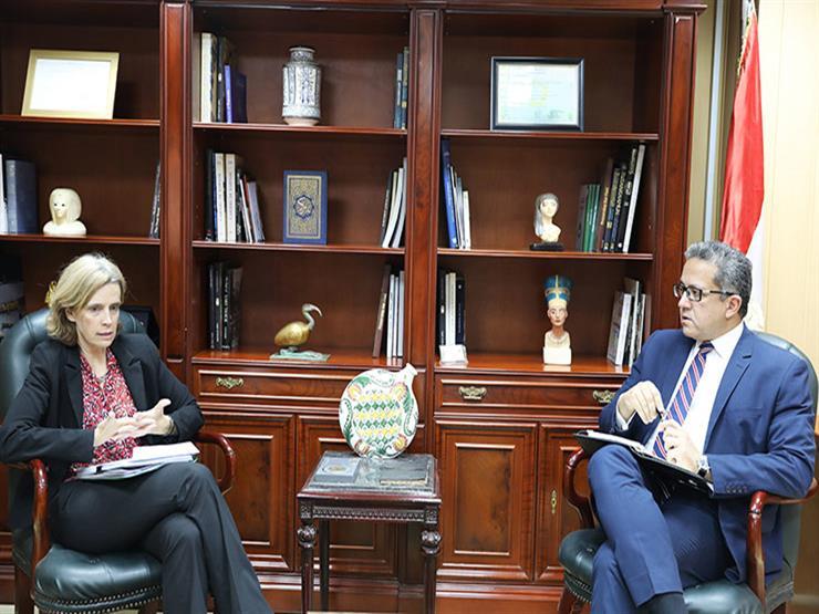 وزير الآثار يبحث التعاون المشترك مع سفيرة بلجيكا