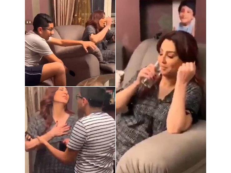 """فيديو  مقلب من ابن وفاء عامر.. والفنانة تصرخ: """"بس أنا ضربته"""""""