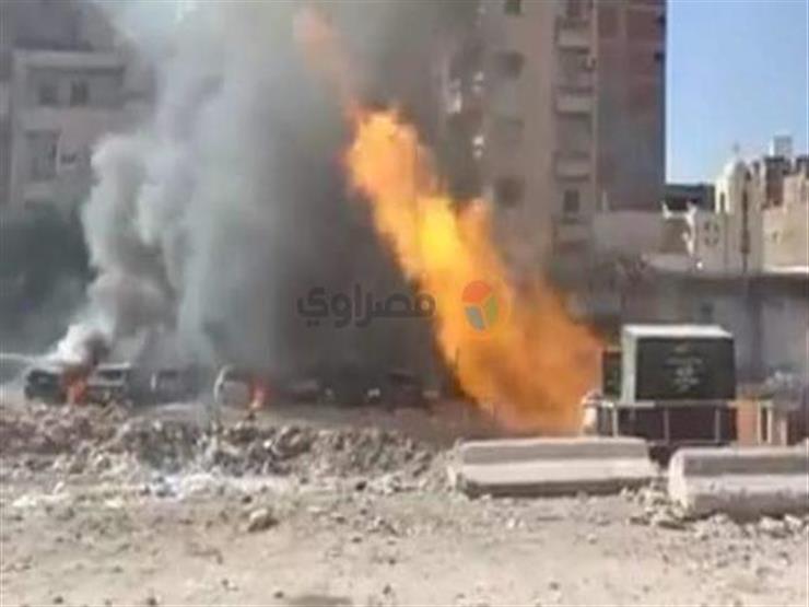 بالفيديو- لحظة اشتعال النيران في ماسورة غاز وتفحم 9 سيارات بالإسكندرية