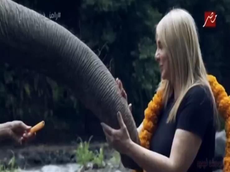 """فيديو - ندى بسيوني تداعب فيل """"رامز في الشلال"""": أحلى فقرة"""
