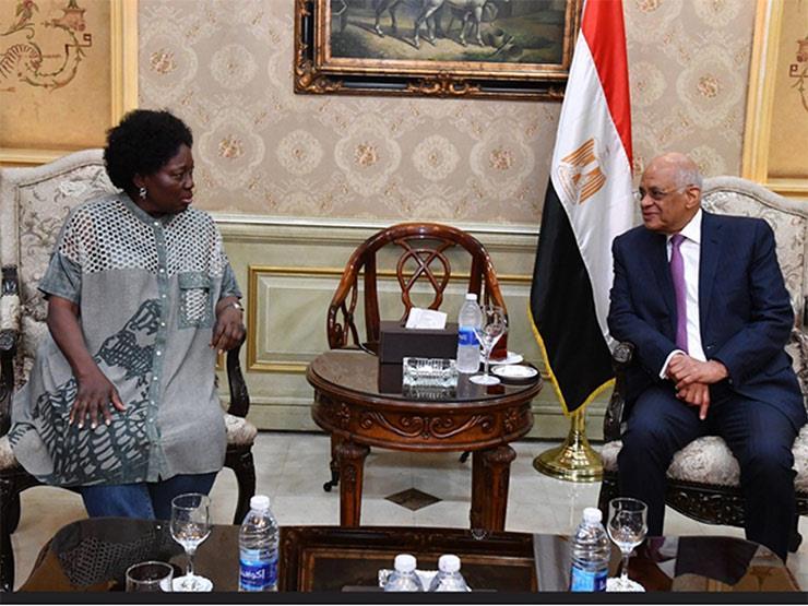 """""""عبدالعال"""" يودع رئيسة البرلمان الأوغندي في مطار القاهرة"""