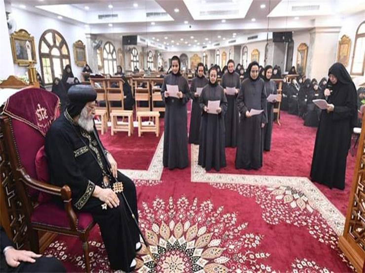 """البابا تواضروس يرسم 7 راهبات جديدات لدير """"مارجرجس"""""""