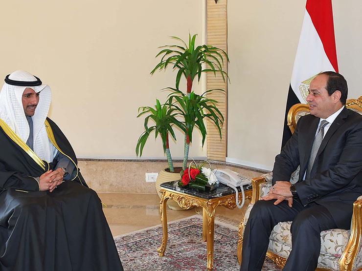 السيسي يستقبل رئيس مجلس الأمة الكويتي