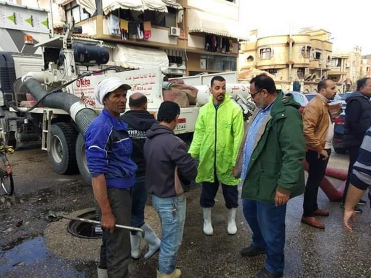 """""""الصرف الصحي"""" ببورسعيد: الأمطار فاقت الطاقات البشرية والمعدات"""