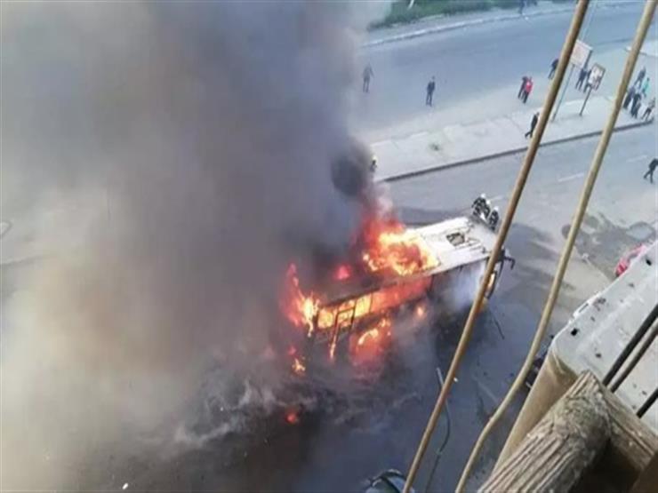 دون خسائر بشرية.. السيطرة على حريق بأتوبيس في حدائق القبة