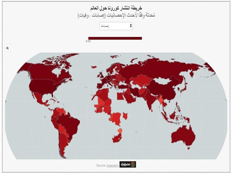 """خريطة انتشار إصابات ووفيات """"كورونا"""" حول العالم (تفاعلي)"""