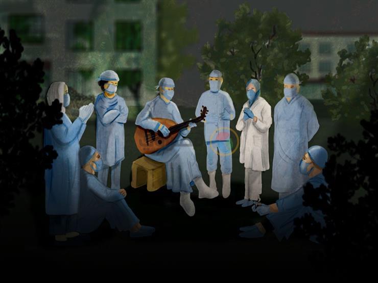 """""""قعدة"""" ونس على الفلكلور النوبي.. ملاذ أطباء مستشفى عزل أسوان"""