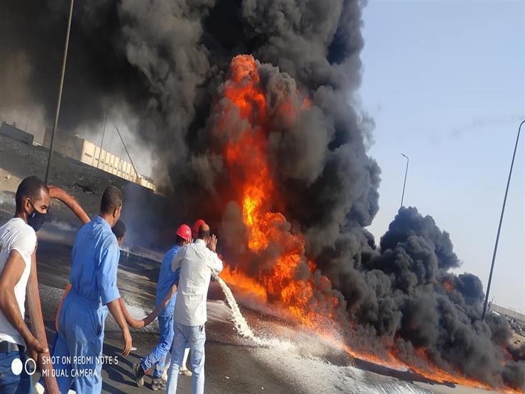 جحيم على الصحراوي.. تفاصيل حريق ماسورة مازوت بطريق الإسماعيلية (تغطية خاصة)