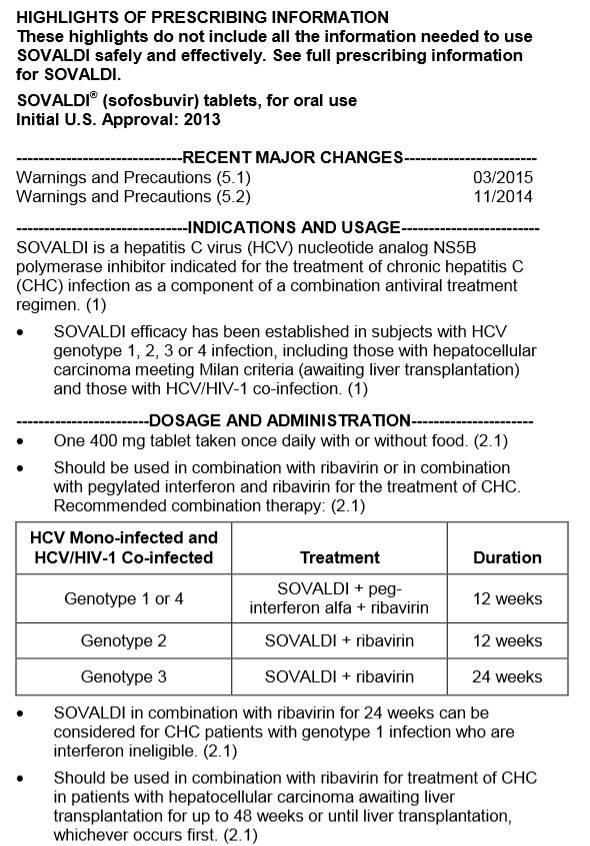 نشرة السوفالدي في الجدول توضح أن العلاج الثنائي للجين الثاني والثالث فقط
