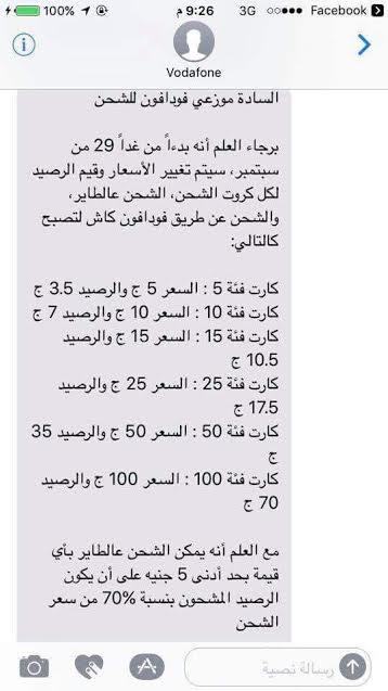 اسعار كروت شحن الرصيد من فودافون