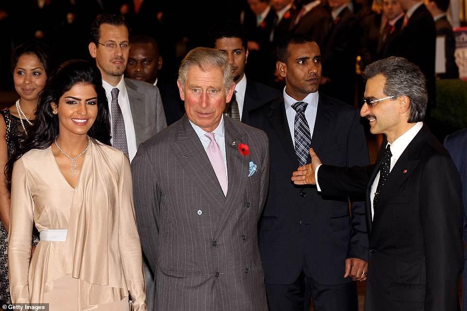 الأميرة أميرة برفقة الأمير وليد و الأمير تشارلز في لندن عام 2011