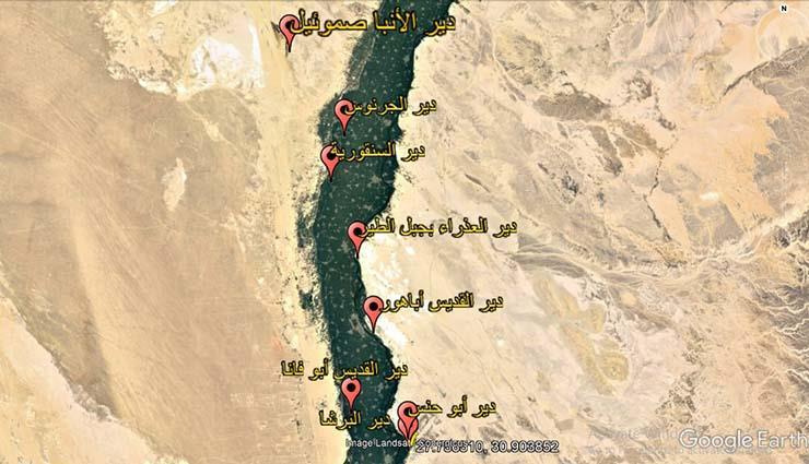 خريطة الأديرة في المنيا