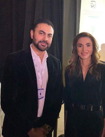محمد كريم مع الملكة رانيا ملكة الأردن (1)