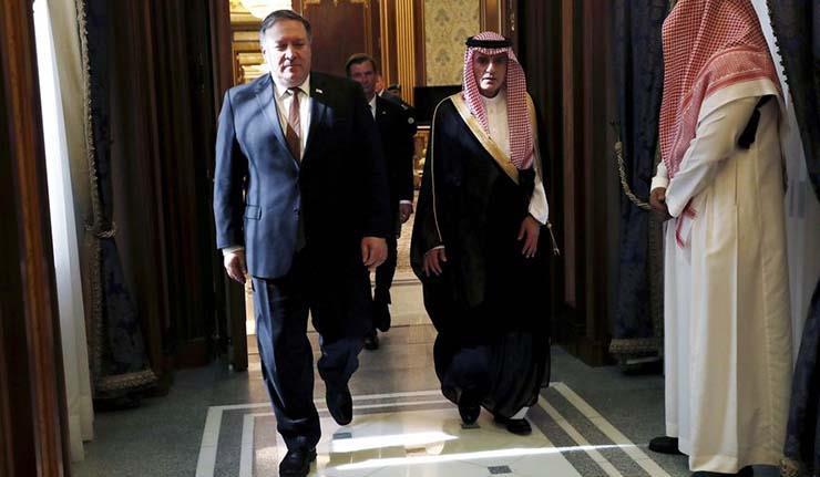 وزير الخارجية السعودي السابق عادل الجبير ونظيره الأمريكي بومبيو