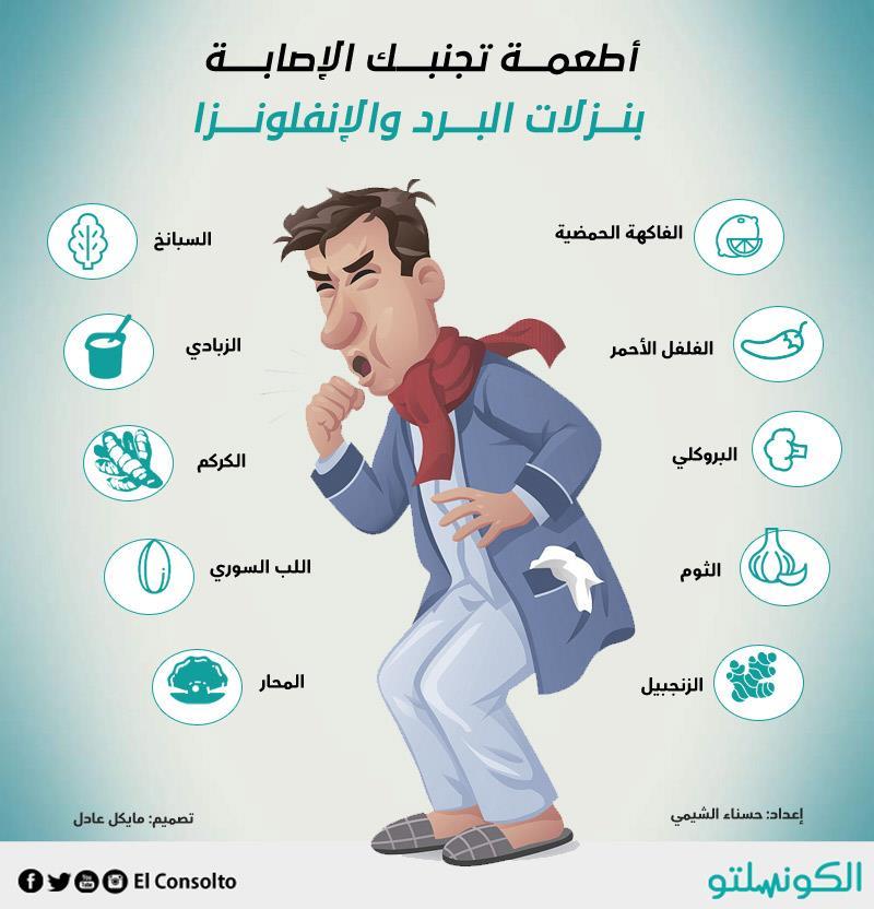 أطعمة تجنبك الإصابة بنزلات البرد