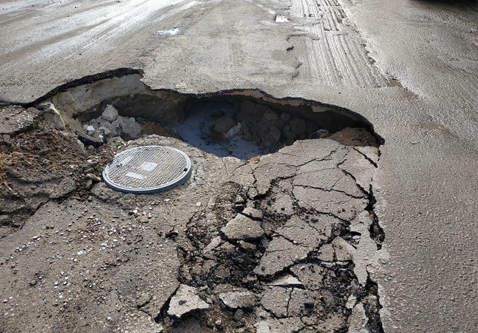 هبوط أرضي بشارع أنوبيس بالإسكندرية