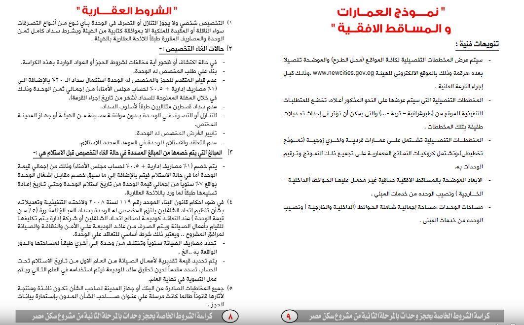 ننشر كراسة شروط حجز 20 ألف وحدة بـسكن مصر صور مصراوى