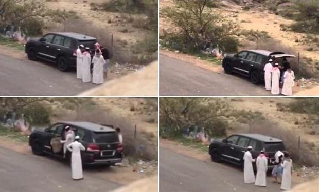 القبض علي 5 سعوديين ظهرو في فيديو يكبلون شاب ويضعونة داخل سيارة