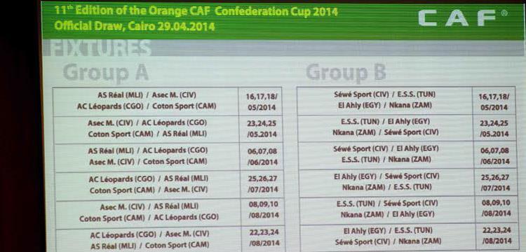 مواعيد مباريات الكونفدرالية الافريقية