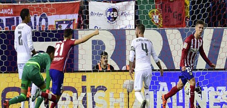 فرحة لاعبي أتلتيكو مدريد بهدف التعادل