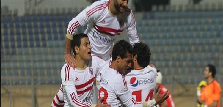 احمد توفيق يحفتل بأحد الأهداف مع لاعبي الزمالك
