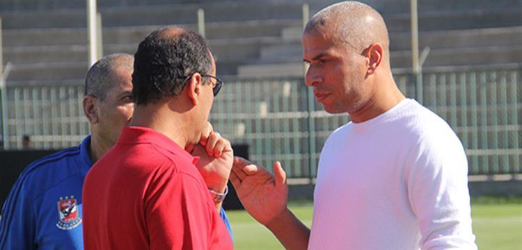 وائل جمعة مع علاء عبد الصادق المشرف العام على الكرة بالأهلي