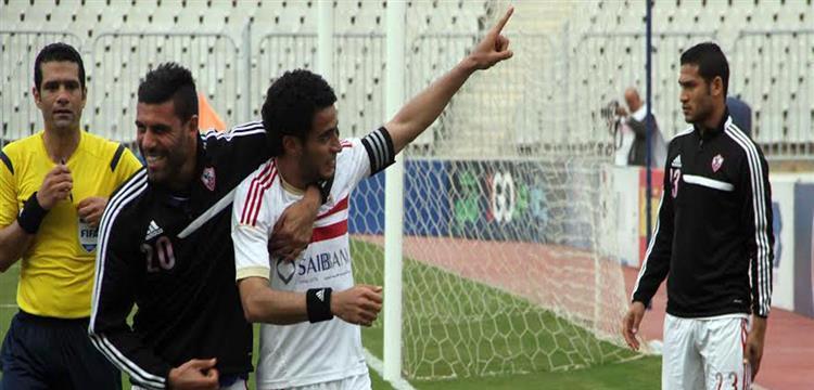 عمر جابر يحتفل بهدفه في حرس الحدود